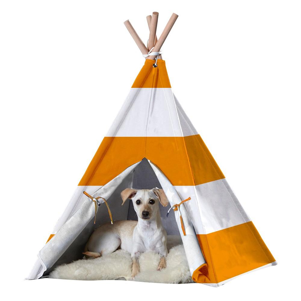 Dogs Teepee- orange stripe- Large, Orange And White