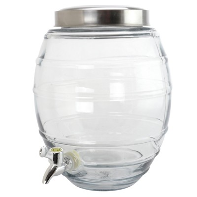 Gibson General Store 2 Gallon Barrel Shape Beverage Dispenser in Clear Glass