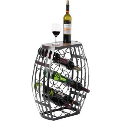 Vintiquewise Barrel Shaped 22 Bottles Decorative Table Wine Rack Storage