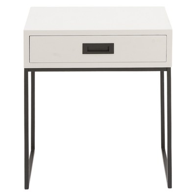 Wood and Metal Rectangular Accent Table with Drawer White/Black - Olivia & May