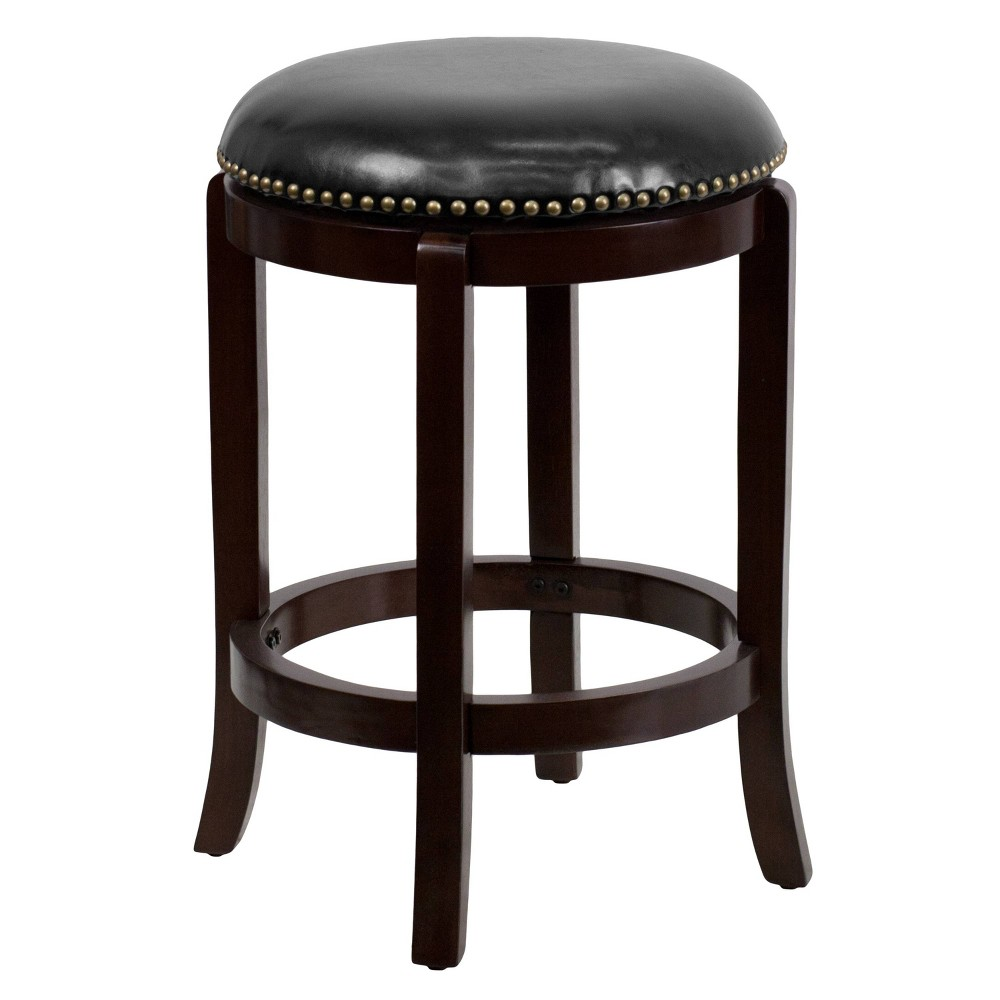 "Image of ""24"""" Riverstone Furniture Collection Backless Cappuccino Stool Cappuccino, Brown"""