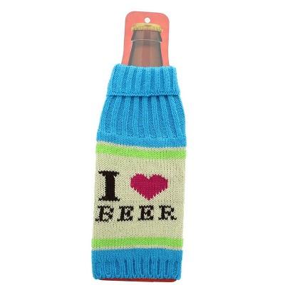 """Crowded Coop, LLC Knit Beer Bottle Cooler - """"I Love Beer"""" Aqua/Pink/White"""