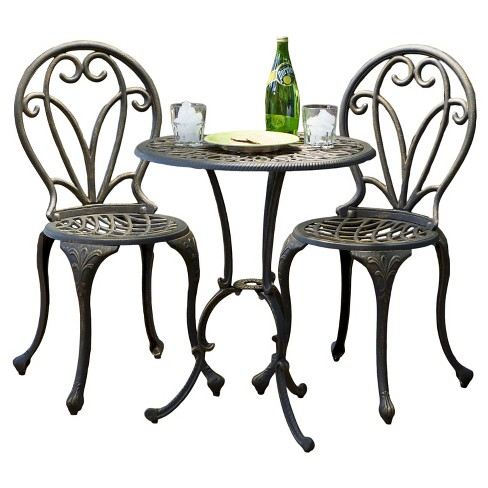 Thomas 3pc Cast Aluminum Patio Bistro Set - Dark Gold - Christopher Knight Home - image 1 of 4
