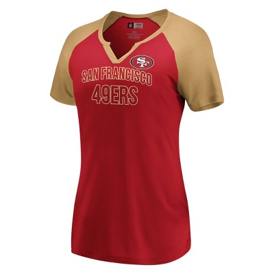 Nfl San Francisco 49ers Women's Extreme Difference Notch Neck T Shirt by Nfl