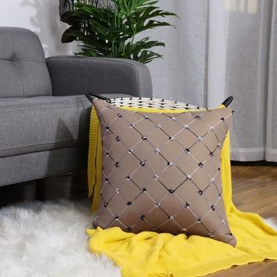 "1 Pc 18""x18"" Polyester Diamonds Shape Decorative Pillow Cover Pale Brown - PiccoCasa"