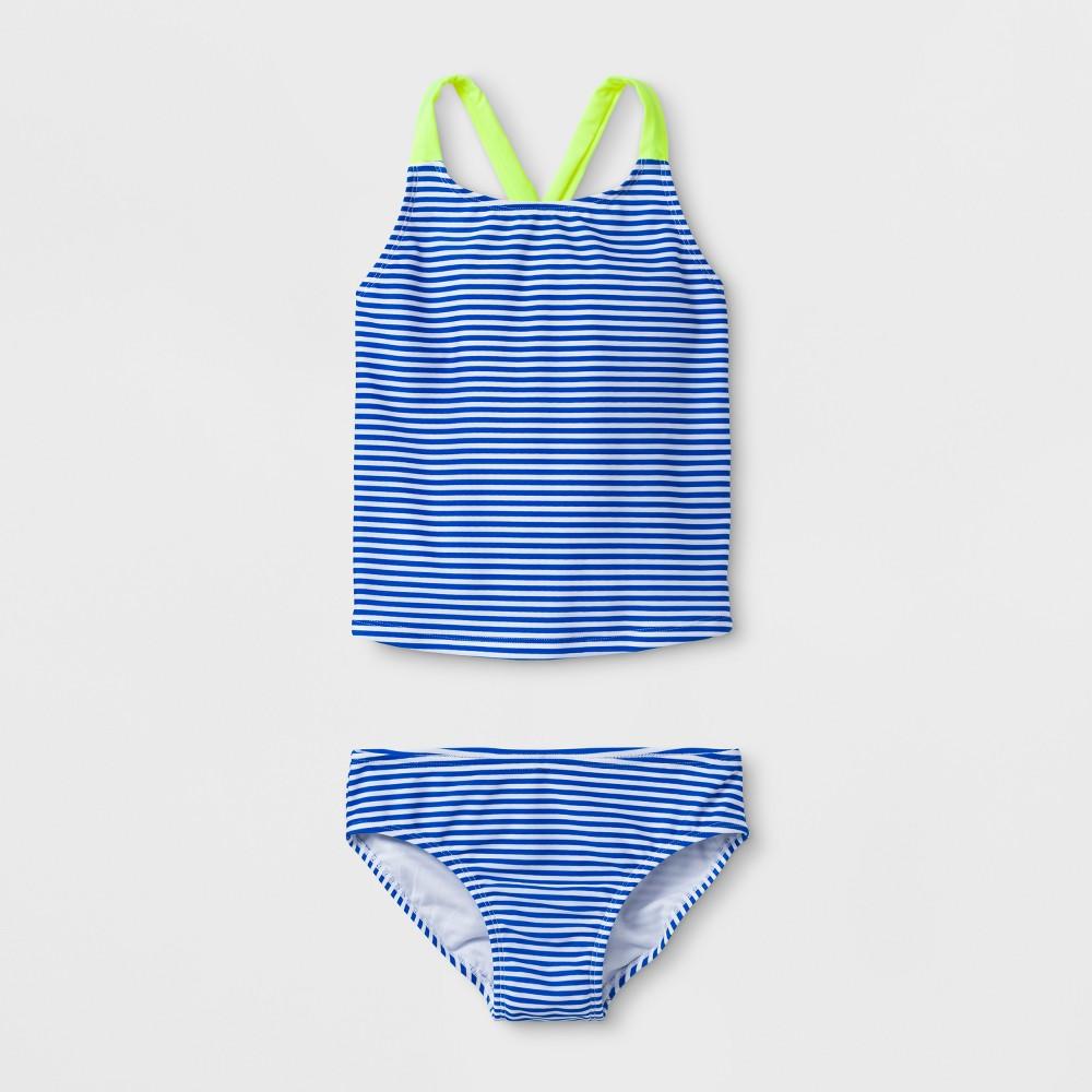 Girls' Mini Stripe Tankini Set - Cat & Jack Blue XS
