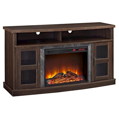 "Fairmount Fireplace Console with Glass Doors for TVs up to 60"" Wide -  Espresso - Room & Joy - image 1 of 4"