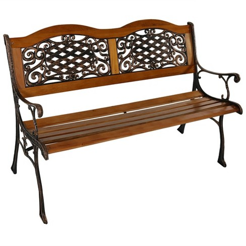 49 Cast Aluminum And Wood 2 Person Ivy Crossweave Patio Bench