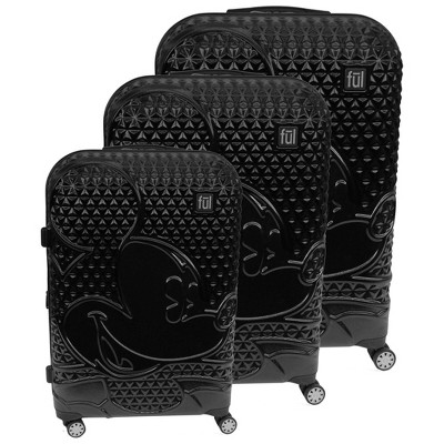 FUL Disney Mickey Mouse Textured 3pc Hardside Spinner Luggage Set - Black