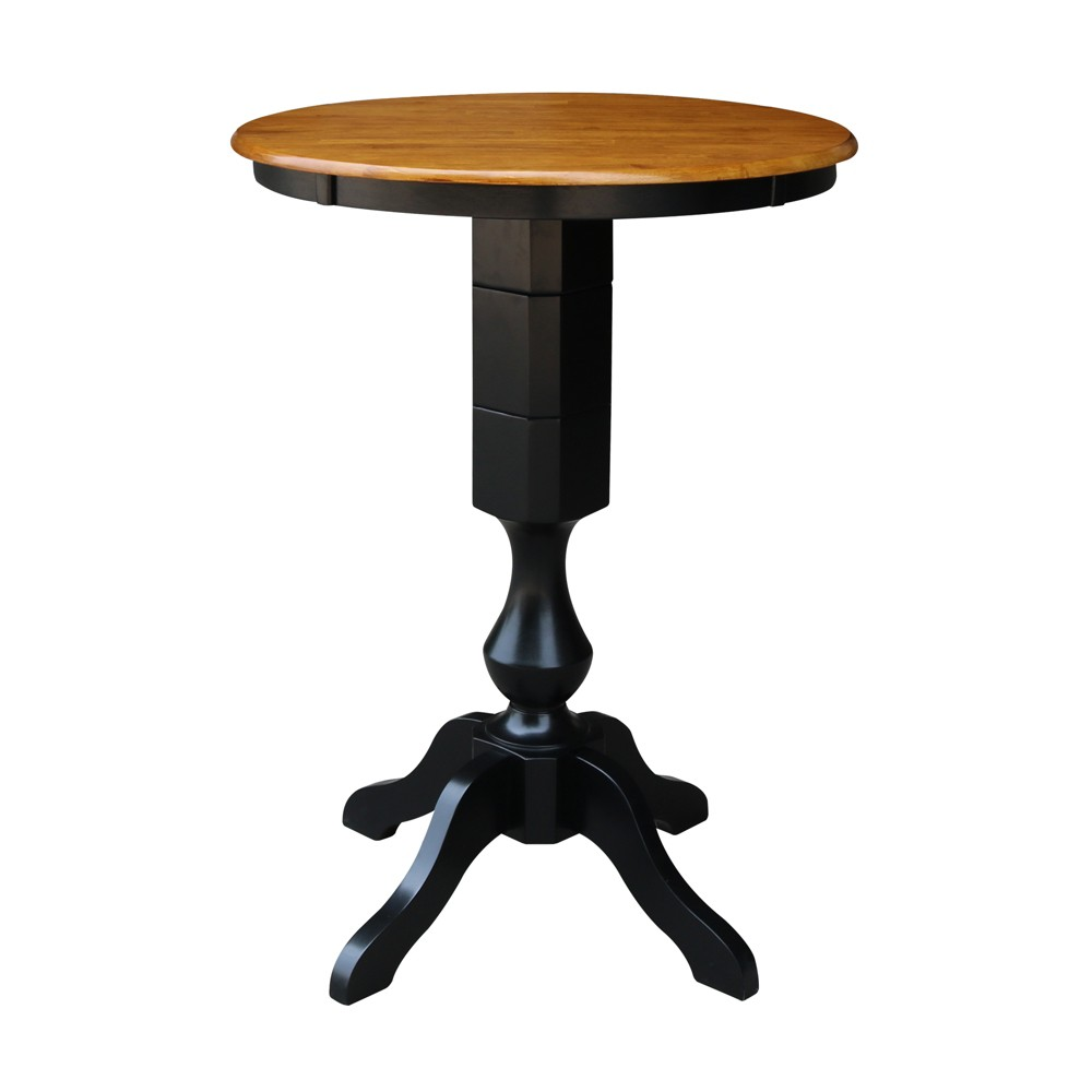 "Image of ""30"""" Lucy Round Top Pedestal Table Bar Height Black/Cherry - International Concepts"""