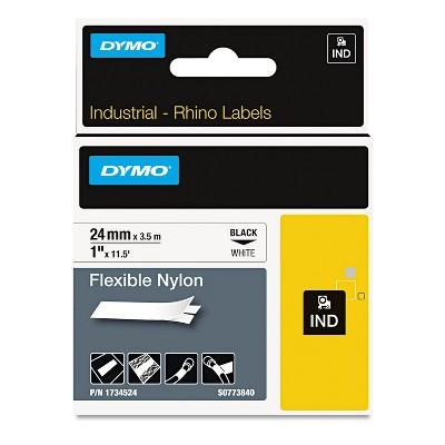 "DYMO Rhino Flexible Nylon Industrial Label Tape 1"" x 11 1/2 ft White/Black Print 1734524"