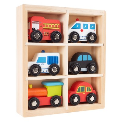 Wooden Car PlaySet-6-Piece Mini Toy Vehicle Set with Cars, Police and Fire Trucks, Train-Pretend Play Fun for Preschool Boys and Girls by Toy Time