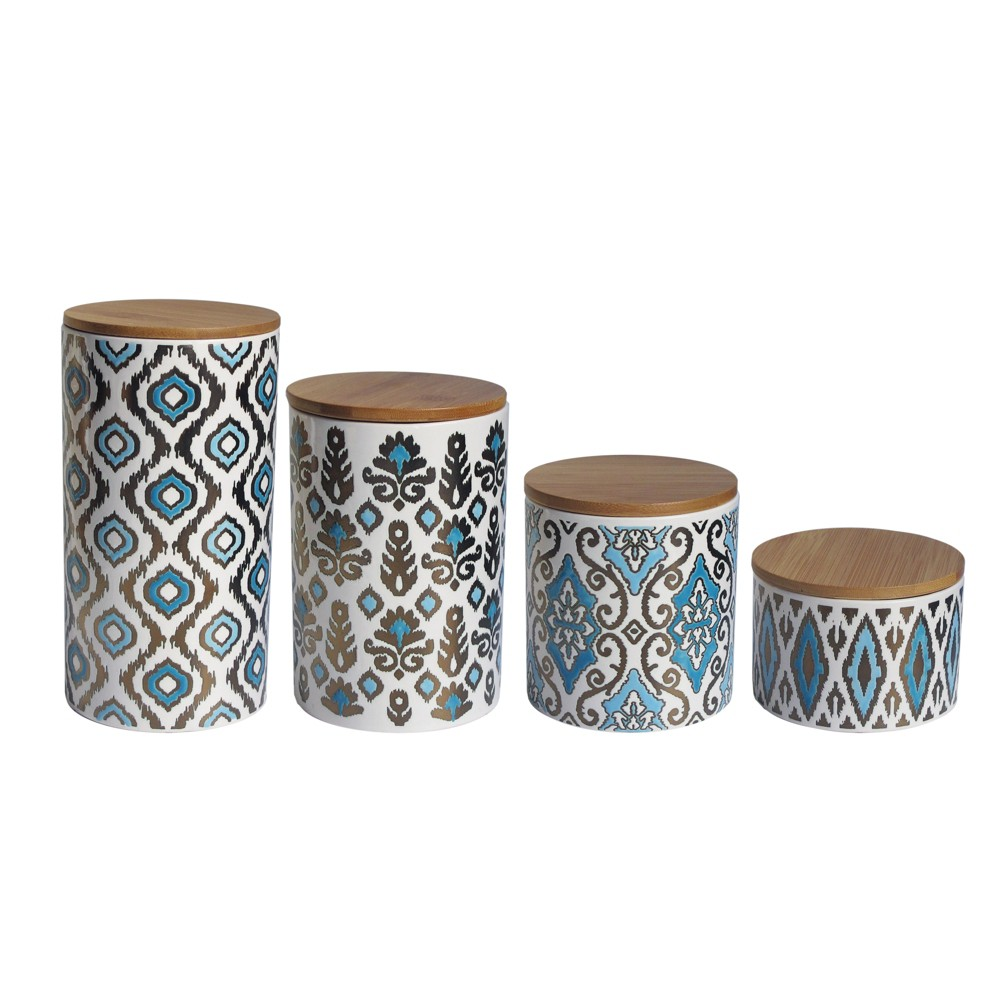 Image of American Atelier 4pc Canister Set Blue/Gold