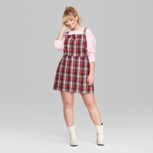 2d96bff8a4691 Women s Plus Size Plaid Strappy Side Button Dress - Wild Fable™ Red 1X    Target