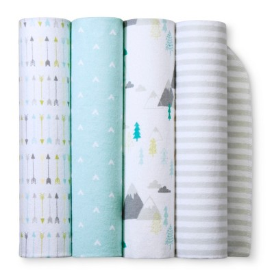 Flannel Baby Blankets Adventure Awaits 4pk - Cloud Island™ Light Blue