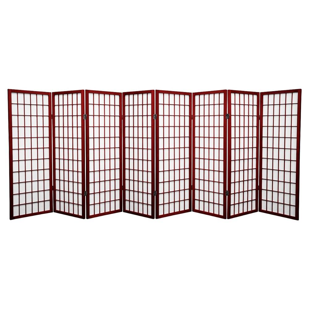 4 ft. Tall Window Pane Shoji Screen - Rosewood (8 Panels), Red
