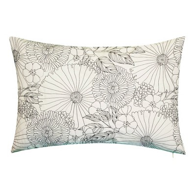 """21"""" x 14"""" Fine Line Embroidered Floral Decorative Lumbar Patio Throw Pillow - Edie@Home"""