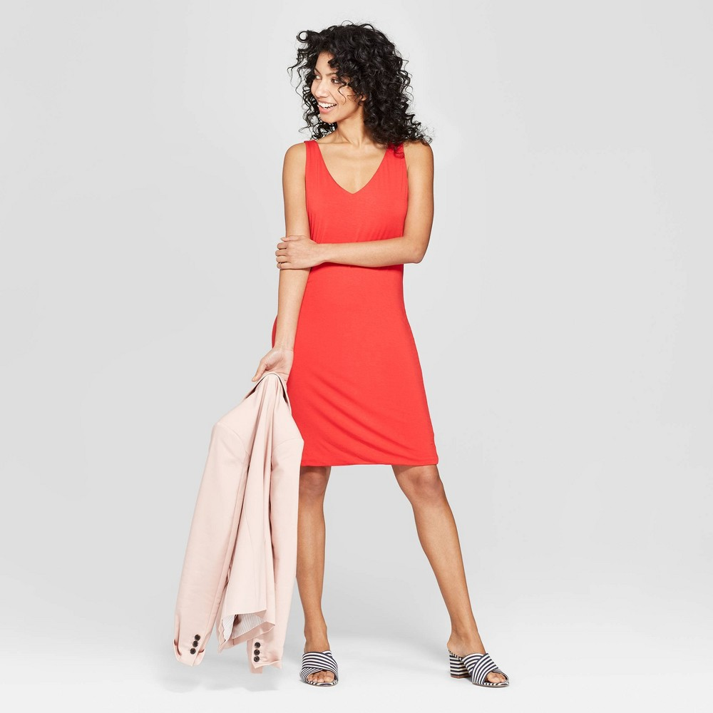 Women's Easy Fit Sleeveless V-Neck Sheath Dress - A New Day Red XL
