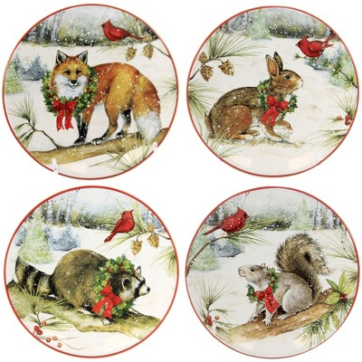 """Tabletop 6.25"""" Winter Forest Canape Plates Set/4 Christmas Animals Certified International  -  Serving Platters"""