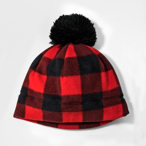 Boys' Fleece Checkered Beanie - Cat & Jack™ Red 4-7 - image 1 of 1