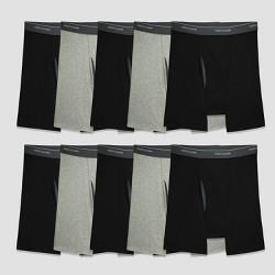 Fruit of the Loom Men's Super Value Boxer Briefs 5+5pk - Black/Gray