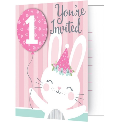 8ct Bunny Print 1st Birthday Party