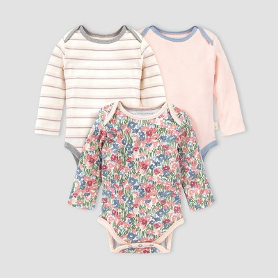 Burt's Bees Baby® Baby Girls' 3pk Organic Cotton Flower Fields Bodysuit - Blue 3-6M