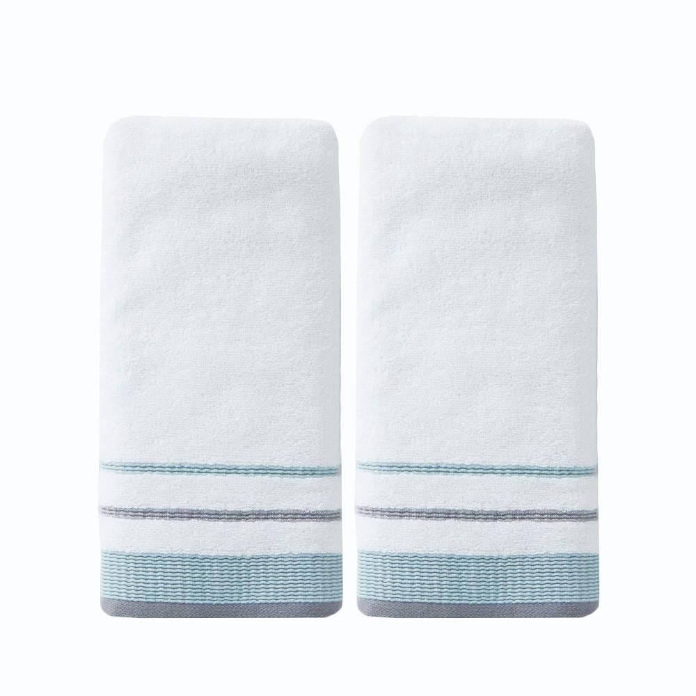 Image of 2pc Go Round Hand Towel Set White - Saturday Knight Ltd.