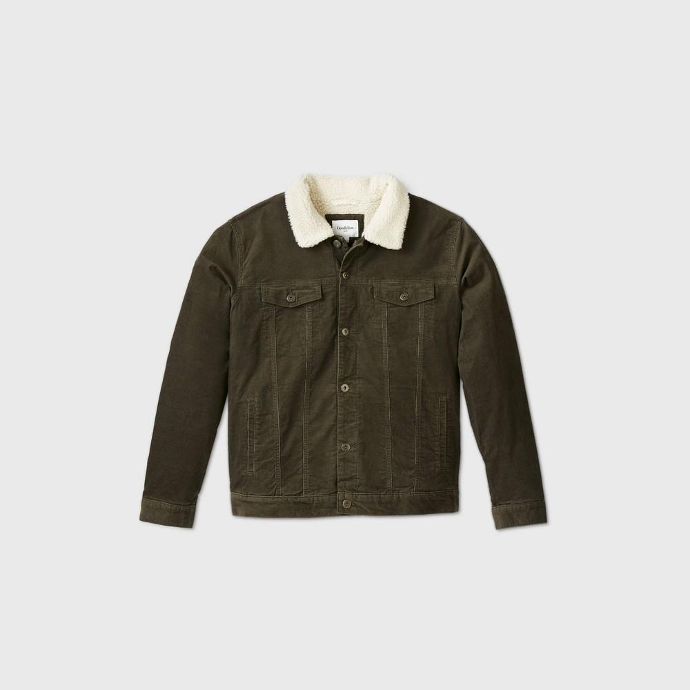 Men's Vintage Workwear – 1920s, 1930s, 1940s, 1950s Mens Big  Tall Corduroy Trucker Jacket - Goodfellow  Co Olive Green 5XBT $49.99 AT vintagedancer.com