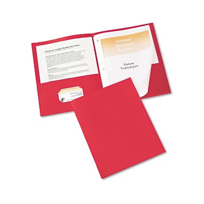 "Avery Two-Pocket Folder Prong Fastener Letter 1/2"" Capacity Red 25/Box 47979"