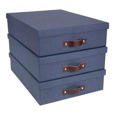 Set of 3 Oskar Canvas Document Box Blue - Bigso Box of Sweden