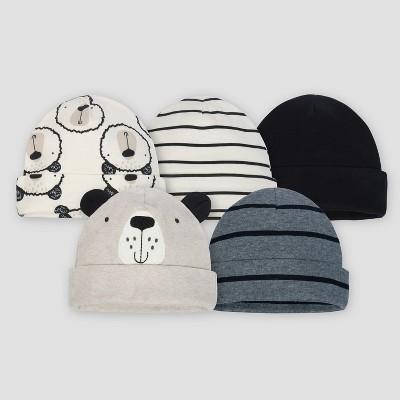 Gerber® Baby Boys' 5pk Caps Bear - Gray/Oatmeal 0/6M
