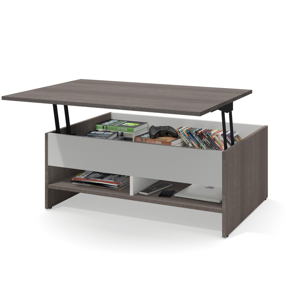"""Image of """"37"""""""" Small Space Lift Top Storage Coffee Table Bark Gray/White - Bestar"""""""