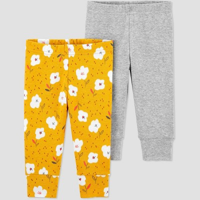 Baby Girls' 2pk Floral Pull-On Pants - Just One You® made by carter's Yellow Newborn