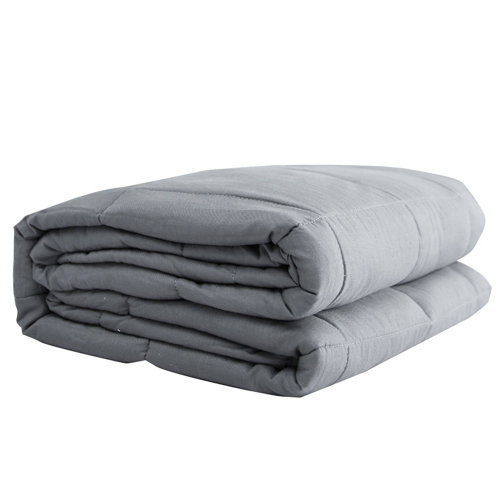 "Image of ""48"""" x 72"""" 20lbs Solid Cotton Weighted Bed Blanket Silver - Pur Serenity"""