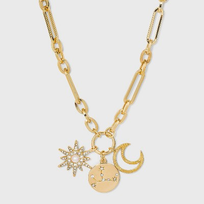 SUGARFIX by BaubleBar Constellation Starburst and Moon Link Chain Pendant Necklace - Gold