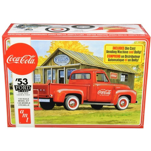 """Skill 3 Model Kit 1953 Ford F-100 Pickup Truck """"Coca-Cola"""" with Vending Machine and Dolly 1/25 Scale Model by AMT - image 1 of 4"""