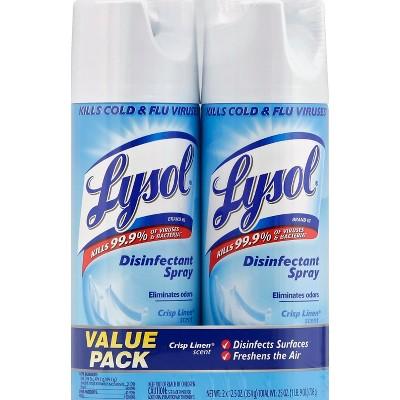 Lysol Crisp Linen Scent Disinfectant Spray - 2x12.5oz