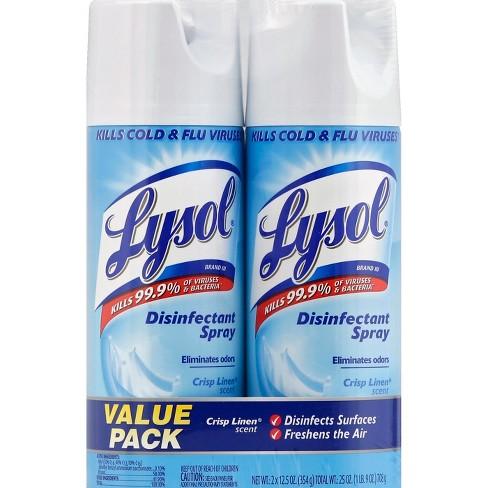 Lysol Crisp Linen Scent Disinfectant Spray - 2x12 5oz