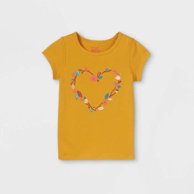 Toddler Girls' Adaptive Floral Heart Short Sleeve Graphic T-Shirt - Cat & Jack™ Mustard Yellow