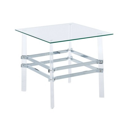 Kritzy Glass Top End Table Chrome - miBasics
