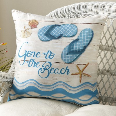 Lakeside Throw Pillows - Gone to the Beach with Flip Flop Coastal Design