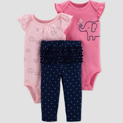 Baby Girls' Elephant Top & Bottom Set - Just One You® made by carter's Pink/Navy Newborn