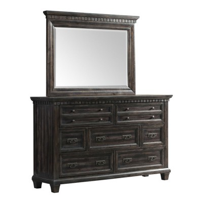 Steele Dresser and Mirror Set Dark Oak - Picket House Furnishings