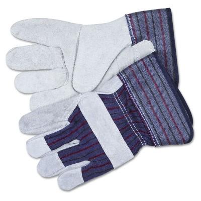 Memphis Split Leather Palm Gloves Gray Pair 12010L