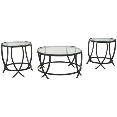 3pc Tarrin Coffee and End Table Set Black - Signature Design by Ashley