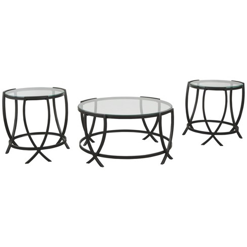3pc Tarrin Coffee And End Table Set Black Signature Design By Ashley Target