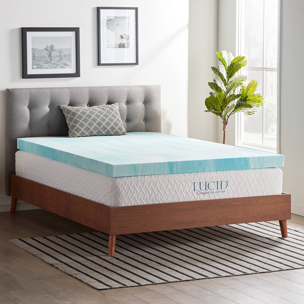 "Image of ""California King Comfort Collection 4"""" Gel Swirl Memory Foam Mattress Topper - Lucid"""