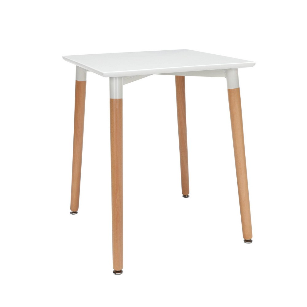 "Image of ""24"""" Mid-Century Modern Square Dining Table with Solid Wood Legs White - OFM"""