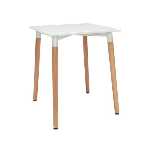24 Mid Century Modern Square Dining Table With Solid Wood Legs White Ofm